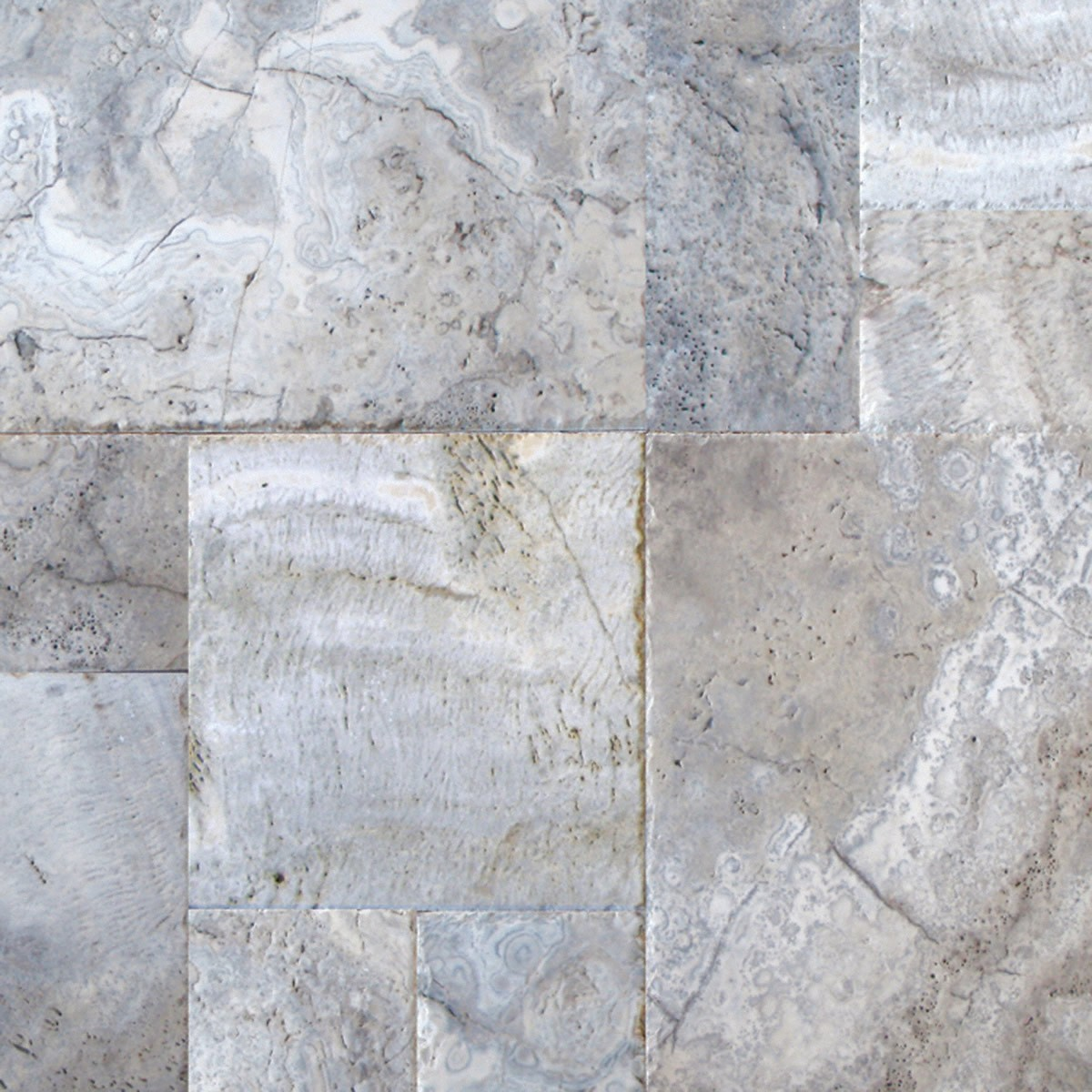 SILVER TRAVERTINE 16 in  x 16 in  x 1 25 in  TUMBLED PAVERS